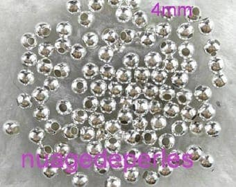 100 4 mm spacers 4 mm silver stardust beads