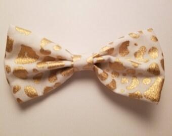 Gold Cheetah Print Cotton Hair Bow