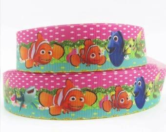 219 - Ribbon - grosgrain - 22 mm sold by 50 CM - ribbon Fish nemo