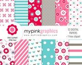 Floral Digital Paper + Flower Clipart — Flowers, Stripes, Polka Dots Paper for Scrapbook, Web Design. Commercial Use. JPEG + PNG - MPG62