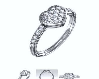 0.42ct Round Diamond Engagement-Friendship Ring GIA certified 18kt White Gold Blueriver4747