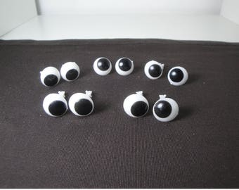 10 round eyes black and white 14 mm for dolls, plush, stuffed animals...