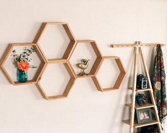 Set of 5 Large Hexagon/Honeycomb Shelves (Reclaimed Wood) 3.5