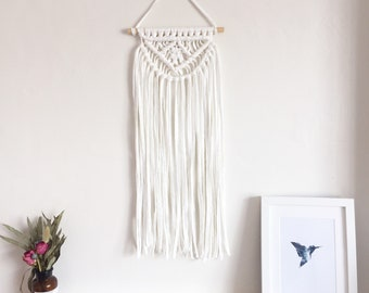 Long layered Macrame wall hanging in ivory white, home decor nursery baby room