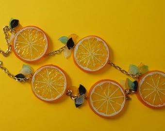 Sliced lemon necklace