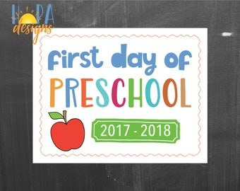 First Day of Preschool Sign - 1st Day of PreK Printable Sign - Photo Props - PreK Sign - Instant Digital Download - Back to School