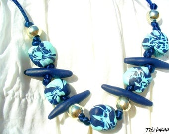 Necklace in polymer clay turquoise and Blue Navy