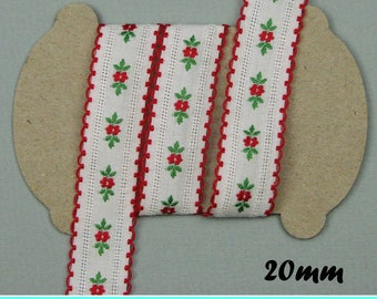 Lace - flowers - white and red - flowers - width 20 mm, 2.5 m
