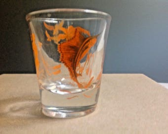 Vintage Florida Souvenir Shot Glass, Flamingo, Swordfish, Waterskier