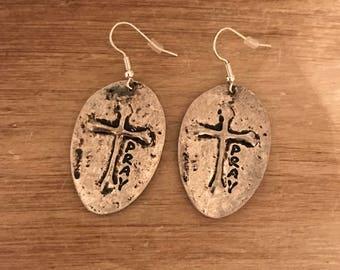 Spoon cross earrings