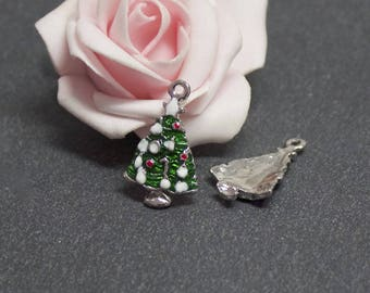 x 2 charms Christmas tree in silver and enamel multicolor 25 x 16 mm BRA123