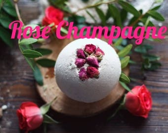 Rose Champagne bath bomb large 3 inch bomb
