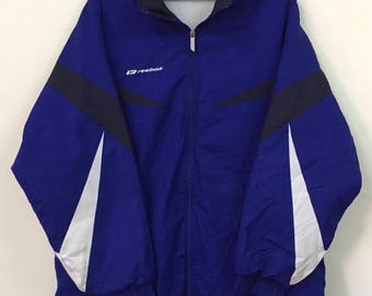 Vintage Reebok Royal Blue Multicolour Windbreaker Jacket With Hooodies Perfect Condition