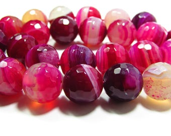 Set of 2 14mm faceted pink Agate beads