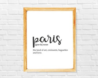 Paris print, Paris sign, Paris city poster, Paris gift, Modern city printable, Black and white minimalist city poster,Modern wall art