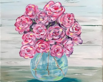 Rose Bouquet in Glass Vase