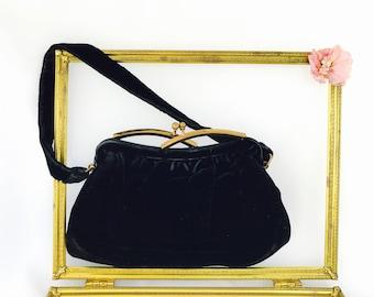 Vintage Black Velvet Bag Designed by Garay | Gold Metal Kiss Closure Evening Bag