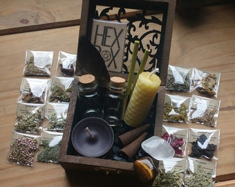 DIY Intention Jars - Mini Spell Box - 20 Magick Herbs - Empty Glass Bottles - Witchcraft - Magic Spells - Ritual - Spell Jar - Pagan Gift
