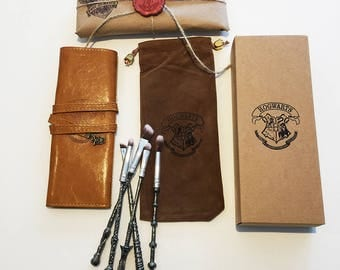 FREE SHIPPING Silver Hogwarts Wands Harry Potter Makeup Brushes roll harry potter Gift Boxed & Wrapped options