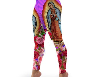 Virgen de Guadalupe, Our Lady of Guadalupe, Virgin Mary Stretch Lycra High-waist Leggings
