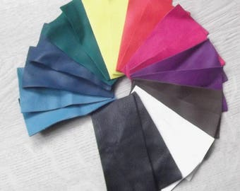 Set of 20 coupons from various colors lambskin.