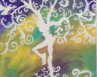 FIRE DANCER    Dave Matthews Band Logo Acrylic Painting Abstract Art DMB Inspired 9x12 paper
