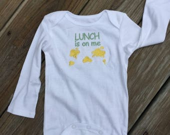 Lunch is on Me Embroidered Onesie