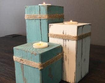 Rustic Tea Light Center Piece