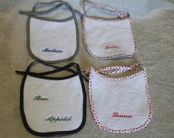 Customizable embroidered baby bibs