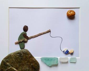 Cornish Pebble Shell Sea Glass Art Picture Fishing Fisherman Unique Handmade Gift Present