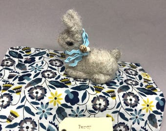 Tiny Grey Needle-Felted Bunny with Liberty of London Bag