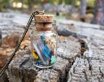 Rose quartz fairy jar necklace