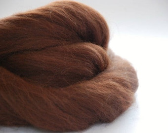 ALPACA TOP - natural colour Chestnut~ ready for spinning, felting and crafting