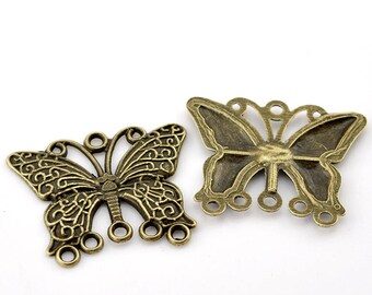 Set of 2 36mm x 29mm Bronze Butterfly connectors