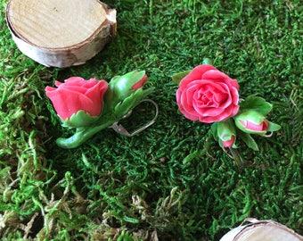 Rose earrings Wedding jewelry Wedding earrings Bride jewelry Brides made earrings Red roses Red flowers Earrings with dark red roses