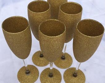 Set of 6 gold glitter champagne glasses