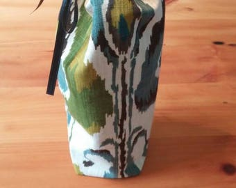 Teal, green and grey wine bag