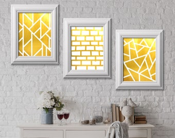 Package of 3 Foil Prints, Real Gold Foil Print, Modern Home Decor, Pattern Gold Decor, Home Decoration, Brick Pattern, Luxary Frame, wallart