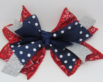 Cowgirl hair bow, cowgirl bow, rodeo bow, polka dot bow, bandana bow, girls hair bow, girls bow, Scrappy ribbon hair bow,