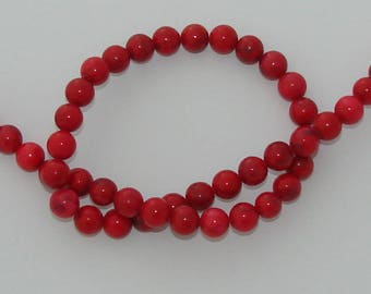 5 beads 8 mm natural howlite Red