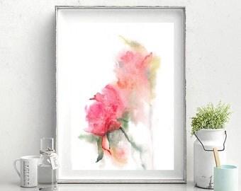 Print,peonies,watercolor peonies,digital flowers,print with flowers,art Nouveau,Botanical painting, art, watercolor,pink print,pastel colors