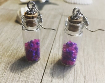 Seed bead jar earrings