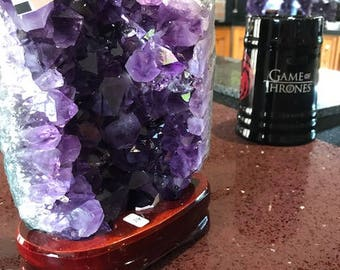 Amethyst Cluster Crystal Druzy Premium Queen Grade Amazonian River Bed 2.33KG Free Standing Wooden Base