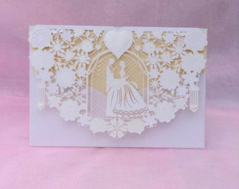 ivory embossed groom and bride heart laser cut invitation wedding invitation - Embossed Wedding Invitations
