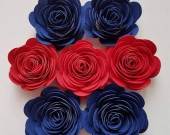 Set of 12 Mixed Blue and Red Small Paper Flowers, Rolled Paper Flowers, Quilled Paper Flowers, Origami Flowers