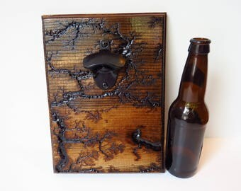 Mahogany Stain Lichtenberg Bottle Opener