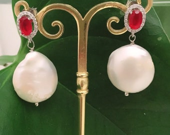 Chanel White Baroque pearl earrings. Ruby Red Earrings. Chanel earrings. Handmade. Drop Pendants