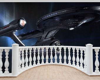 Huge 3D Balcony Fantasy Star Trek Space Ship Wall Stickers Mural 861 Part 87