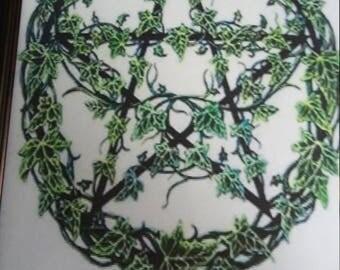 8x10 framed print pentagram pentacle leaves Wiccan Wicca pagan