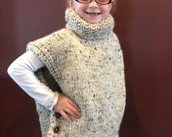 Hand Knit Girl's Wool Poncho / Pullover Sweater